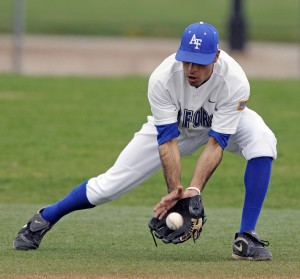 Air Force Academy junior shortstop K.J. Randhawa scoops up a grounder during a two-game series with the University of New Mexico Lobos. The Falcons lost both games, and finished the season with a 14-37 overall record.  (U.S. Air Force photo/Mike Kaplan)