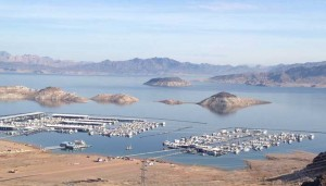 Two of the marinas that service Lake Mead. The white part of the rocks shows how far Lake Mead has fallen over the past 80 years since the Hoover Dam was built to hold back the Colorado River.