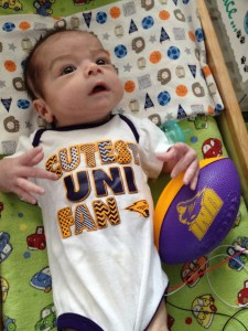 How awesome is this little UNI Panthers shirt? He might get three wearings out of it before he is too big.