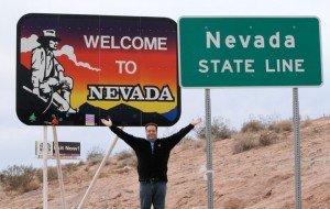 Out of Utah -- and briefly Arizona -- and about to enter Mesquite, Nev.
